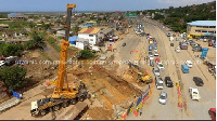 Ongoing construction works on the Mallam Junction storm drain