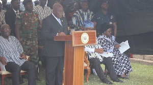 President Akufo-Addo speaking at the funeral