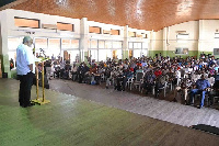 Former President Rawlings addressing audience at the Arts Centre in Accra