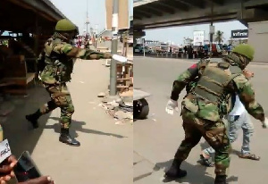 The military personnel asked the civilian to squat