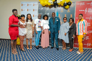 Rev Yeboah (6th L) with some of the invited gospel artists and dignitaries