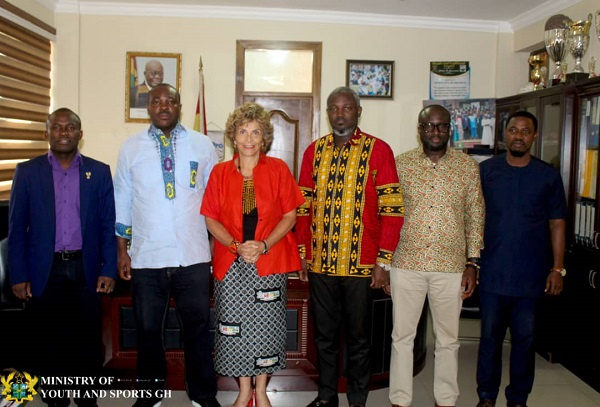 The Colombian Ambassador to Ghana H.E Claudia Turbay with the sports minister and other officials