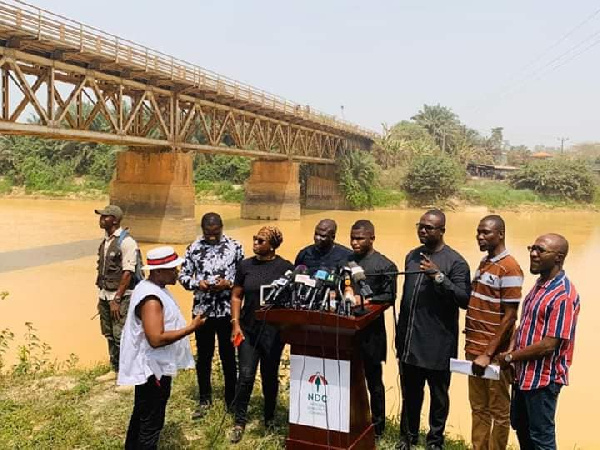 NDC hold presser on 'havoc of failed galamsey fight' near the River Pra