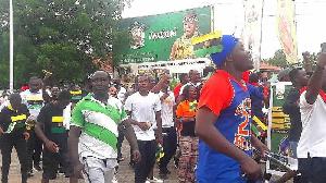 Some residents of Kumasi walking to celebrate Otumfuo's 20th anniversary