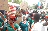 The spokesperson for the picketing nurses said they won't leave until their demands are met