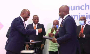 Michael Ansah (L), CEO of GIADEC and Kwasi Osei Ofori, CEO of Rocksure International