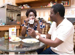 Dela Sowah shared a picture of herself having breakfast with her husband