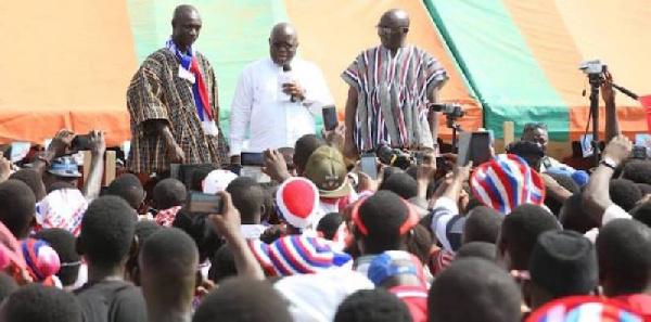 Nana Addo Dankwa Akufo-Addo and Dr. Mahamudu Bawumia addressing residents at Nandom