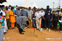 Alexander Akwasi Acquah cutting sod for construction of new market