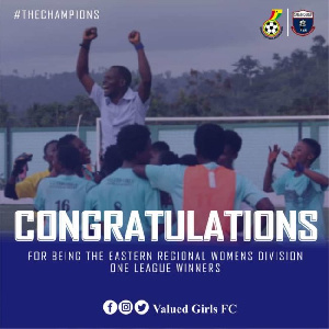Valued Girls won the Eastern Region Division one women's league