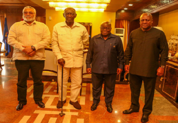 President Akufo-Addo [2nd from right] with former Presidents Rawlings, Kuffour and Mahama