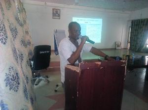 Mr Dauda Issaku Saari making the presentation of the strategic plan