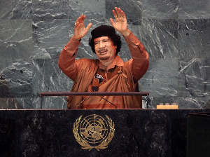 Muammar Gaddafi after his speech at the UNGA in 2009