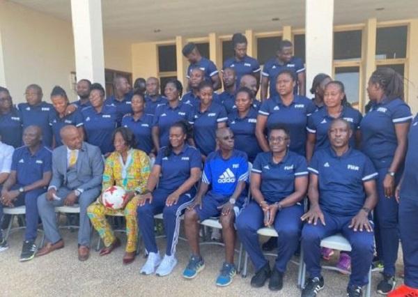 Women Football coaches undergoing training in Prampram