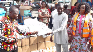 Dr. Dominic Eduah hands over donated items