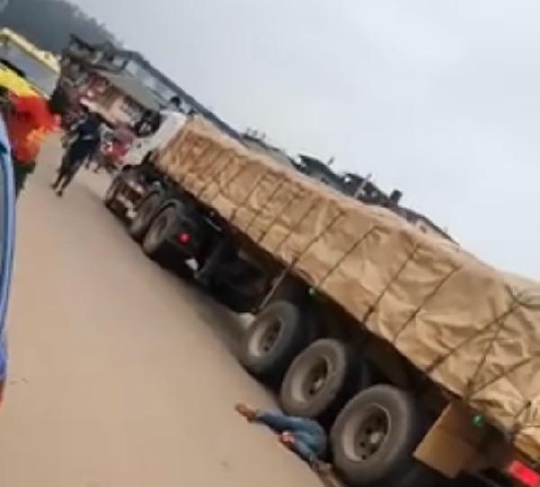 Cement truck runs over 19-year-old motor bike rider at Bogoso. 49