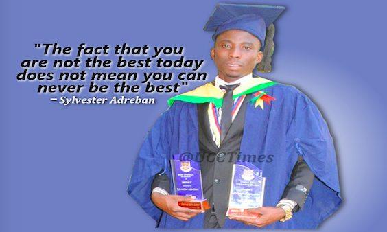 Sylvester Adreba holding his awards