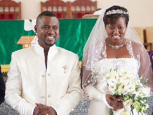 Abeiku Santana and wife during their wedding