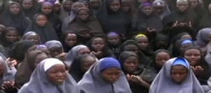 A screenshot of a video released by Boko Haram in 2014 of the girls kidnapped by the terrorist group