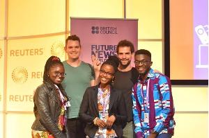 Aliaume Leroy and Benjamin Strick from BBC Africa Eye with Ghanaian Delegates