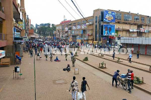 The police chased people out of the streets in the capital Kampala