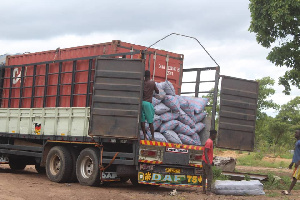 The truck loaded with the illegal Rosewood that was intercepted at Damongo