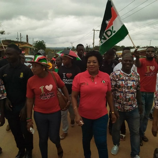 MP for Agona East Constituency, Queenstar Sawyer [R] with some members of the NDC