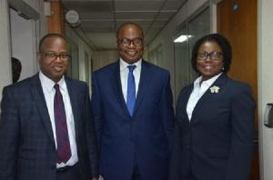 Dr. Maxwell Opoku Afari (1st Dep. Governor), Dr. Ernest Addison (Governor, BoG), Elsie Awadzi (2nd D