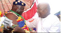 Otobour Djan Kwasi Il with the Speaker of Parliament Professor Mike Aaron Oquaye