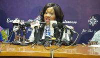 Electoral Commissioner, Jean Mensa addressing the media