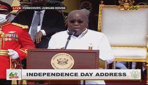 President Akufo-Addo delivering the 64th anniversary speech