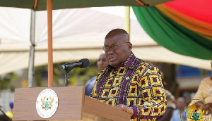 President Akufo-Addo addressing the gathering at the 60th anniversary of Pope John's