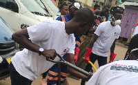 Some members of Clean Ghana Club during the exercise
