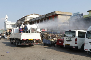 The crew disinfected the two lorry terminals at the Opera Square area
