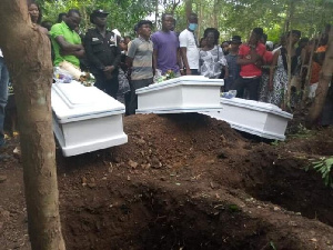 Some bereaved family and sympathisers at the burial grounds