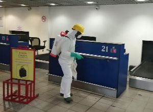 At KIA, over 200 personnel from Zoomlion Ghana, placed in 14 groups disinfected the three terminals