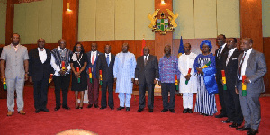 President Akufo-Addo with some of his minsters