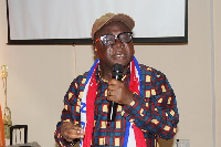 Acting NPP Chairman, Freddie Blay campaigning to some members of the party