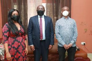 A photo of vice president Bawumia with Kweku Baako and wife