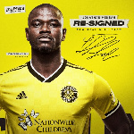 Jonathan Mensah reacts after contract extension with Columbus Crew