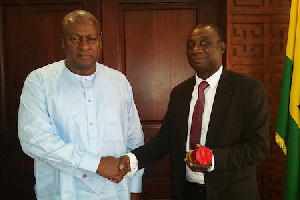 File photo of President Mahama swearing-in Dr. Kwabena Donkor as Power Minister