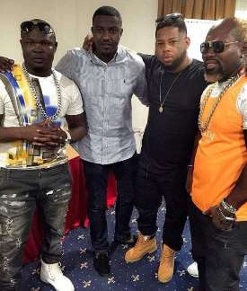 Bukom Banku and Ayittey Powers in a pose with D Black and John Dumelo