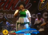 Celestine Donkor, a gospel musician at the peace concert ahead of tomorrow's elections.