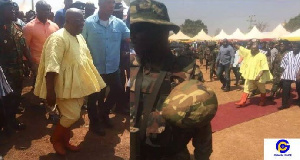 President Akufo-Addo in his fugu during the coronation of newly enstooled Yaa-Naa Abubakari Mahama