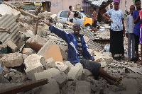 A physically challenged victim of the demolition lamenting his loss