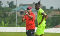 Asante Kotoko coach, Mariano Barreto and defender Habib Mohammed