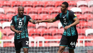 Swansea City Vice captain,Andre Dede Ayew and his temmates Rhian Brewster