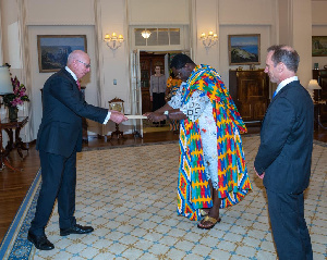 H.E Dr. Joseph Agoe presenting the Letters of Credence to H.E Hon. David Hurley