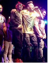 Shatta Wale and Samini on stage at  2016 Saminifest