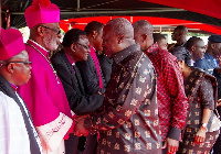 File photo: President John Mahama exchanges pleasantries with some members of the clergy.